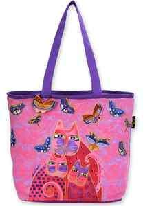 Laurel Burch Fuchsia Cats and Flutterbyes Shoulder tote Bag 2012