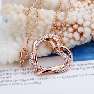 New 18K Gold plated Swarovski beauty heart Necklace N6