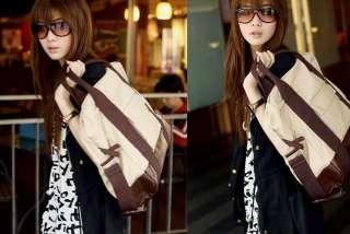 Korean Lady Girl Canvas Leather Hobo handbag backpack satchel shoulder