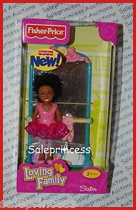 Fisher Price Loving Family People AFRICAN AMERICAN SISTER AA w/ BALLET