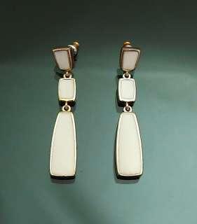 Vintage Gold GP Dangle Earrings White Enamel 2inch Beautiful NEW