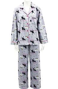 Leisureland Womens Flannel Pajama Set Top Pants Unicorn Rainbow Gray