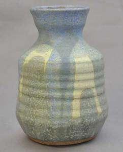 Stoneware Art Pottery Vase Blue & Green Signed Kline
