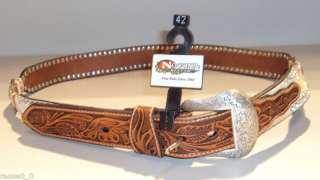 NEW* Nocona Leather Deer Hair/ Rhinestone Belt Size 42