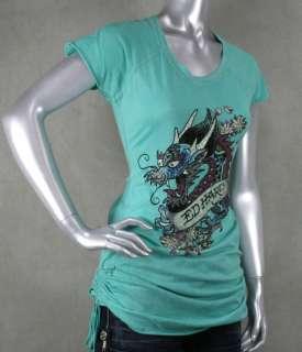 Ed Hardy Platinum Ruched T shirt STONES Dragon ROSE