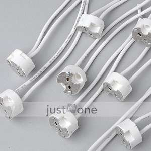 10 pcs GU5.3 MR16 MR11 LED Light Lamp Bulb Wire Cord Connector Ceramic
