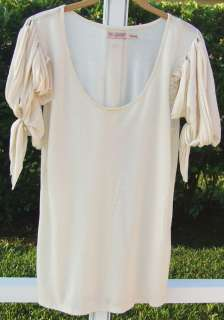 JUICY COUTURE IVORY SHORT TIE SLEEVE SHIRT SILK BLEND TOP BLOUSE