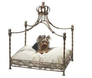Gold Iron Crown Canopy Pet Bed