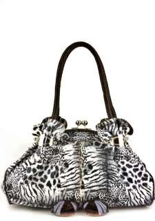Brown Designer Washed Leopard Inspired Kisslock Celebrity bag Handbag