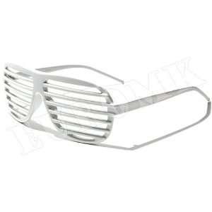 Shutter Shades Sonnenbrille Weiss Disco Brille Partybrille
