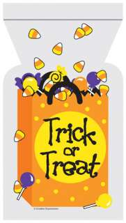 Trick or Treat Cello Halloween Themed Party Favor Zippered Treat Bags