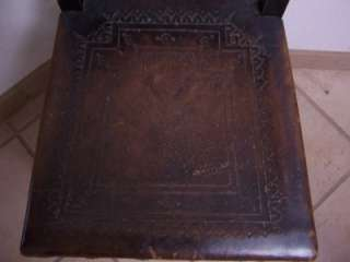 Antique SPANISH HAND TOOLED Leather CARVED Chair