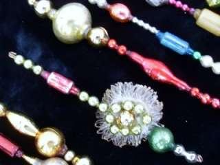 12 lot MERCURY GLASS VTG bead ICICLE CHRISTMAS ORNAMENT