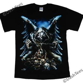 GRIM REAPER WINGS SKULL CHAIN FLAMES GOTHIC NEW T SHIRT