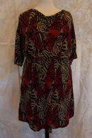 18 (?) Coldwater Creek Dress Cowl neck dress red black & beige NEW