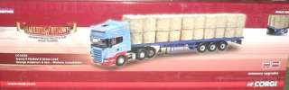 ANDERSON SCANIA R620 FLATBED & STRAW LOAD TRACTOR TRAILER 1/50
