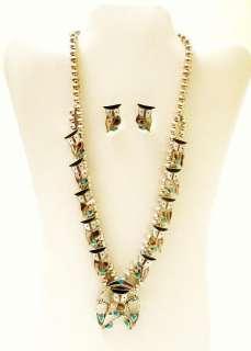 Sterling Turquoise Gems OWL Squash Blossom Necklace Set   P Natewa