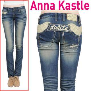 AnnaKastle Lolita Jeans Angel Wing Straight Slim Leg Skinny Pants size