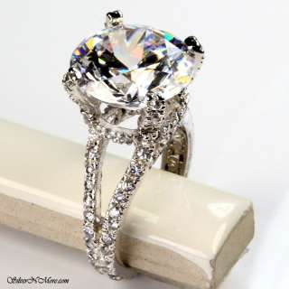 WHITE TOPAZ CZ COCKTAIL RING .925 STERLING SILVER RING SIZE 8 W554 555