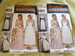 SIMPLICITY 9746 pilgrim,Molly Pitcher dress pattern 2sz
