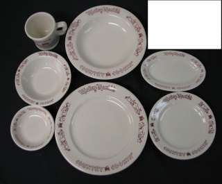 SEVEN piece china group from MICKEY MANTLE Country Cookin