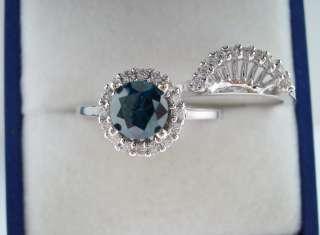 00CT BLUE & WHITE DIAMONDS ENGAGEMENT RING & WEDDING ANNIVERSARY SETS