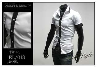 Designer Slim Dress Short Shirt Top Tie Line Black/White S M L 8010