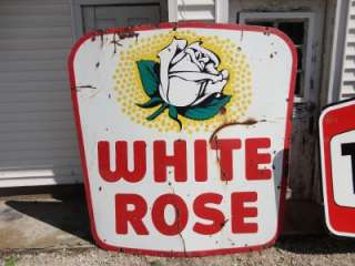 White Rose Gas Double Sided Porcelain Sign *Rare Find* 6 Foot