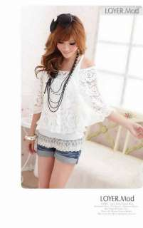 Fashion Chic Womens Ladies Lace Top Shirt Cover Up Blouse Vest 2in1