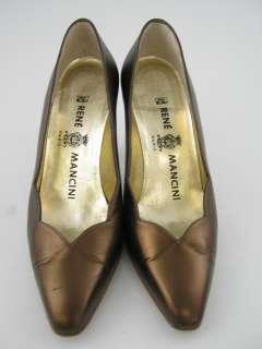 RENE MANCINI Bronze Leather Pumps Heels Shoes sz 37 1/2