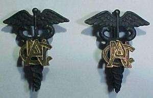 WW1 *Army Nurse Corps* Officer Caduceus Insignia Pair