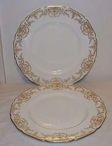 Doulton E3278 Gold Encrusted Urn Floral Flower Swag Dinner Plates (2