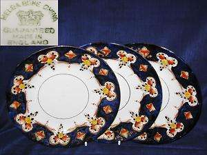 BONE CHINA 3 x SIDE PLATES COBALT BLUE FLORAL SWAGS GILTED GOLD