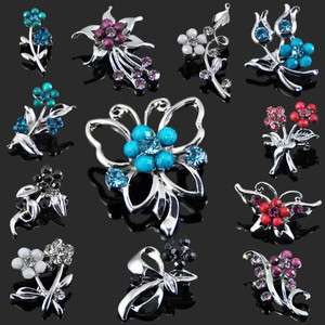 stylish flowers and Butterfly multi colored crystal brooch 282