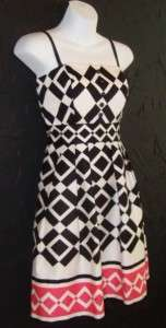 LONDON TIMES black/ivory/pink dress w. POCKETS nwt 12