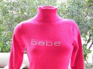 BEBE streach crystals t shirt sweater PINK LOGO 170818