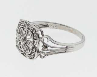 Estate Genuine Diamonds Solid 10k White Gold Ring Size 7.5 FREE Sizing