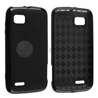 Black Argyle TPU Rubber Phone Case+LCD Cover+Stylus For Motorola Atrix