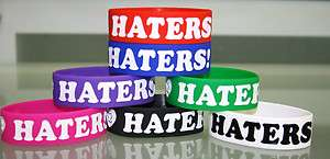 Heart Love Haters Silicone Rubber Stretch Bracelet Wristband FREE