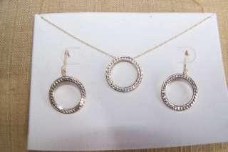 & White Gold Dangle Earrings & Necklace Set, less than 1 gram