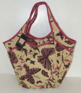 NEW LUCKY BRAND JEANS CANVAS EXTRA LARGE TOTE BUTTERFLY HOBO SHOPPER
