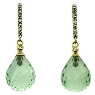 10k yellow gold green amethyst and diamond earrings