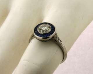 Lovely Antique Art Deco .90C Diamond 22 Sapphires 18k Gold Ring