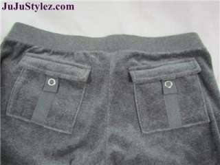 Couture Grey Velour Tracksuit Hoodie & Pants Set Size Large