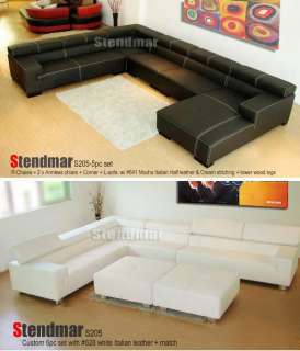 2PC MODERN EURO DESIGN BLACK LEATHER SECTIONAL SOFA S206D