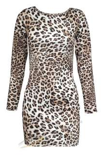 NEW QUALITY WOMENS LADIES LEOPARD PRINT DRESS TOP SIZES 6 8 10 12