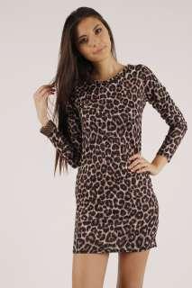 New Womens Leopard Print Long Sleeve Bodycon Dress S/M M/L