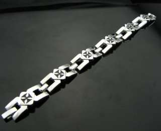 Linked Black Cross EMO Punk Biker Stainless Steel Silvertone Bracelet