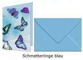 URSUS Grußkarten mit Couverts Schmetterlinge blau