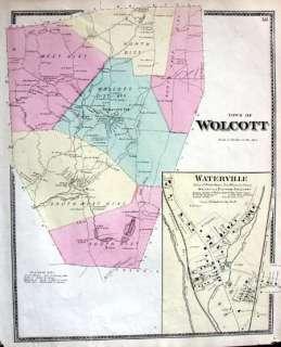 Antique Map Wolcott CT Connecticut